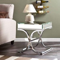 Ava Mirrored End Table - Chrome