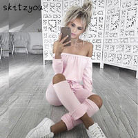 skitzyou Women Sexy Long Sleeve Slash Neck Black Bodycon Elegant Jumpsuit Hollow Out Long Rompers Casual Playsit Winter Overalls
