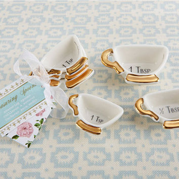 Tea Cup Ceramic Measuring Spoons Favor