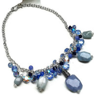 "Blue Gemstone Necklace with Swarovski Crystals - 18"" - NCK055"