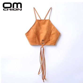 ICIKF4S OMCHION 2017 New Women Sexy Halter Suede Crop Top Back Lace Up Backless Zipper Camis Unlined Bra Vintage Brown Tops BD01