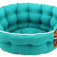 Precious Tails Turquoise Canvas Mini Tufted Pet Bed Sofa Cuddler Round Extra Small
