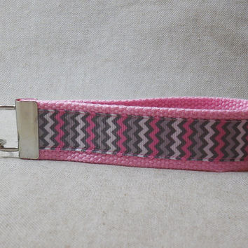 Keychain Wristlet Made With Gray and Pink Chevron Ribbon