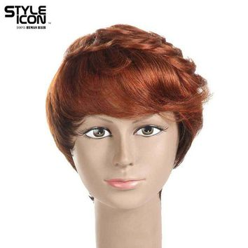 LMFG8W Styleicon Brazilian Virgin Hair Wig Color 30 And F1B/99J Machine Made Short 6 Inch Layered Style Wavy Wig Free Shipping