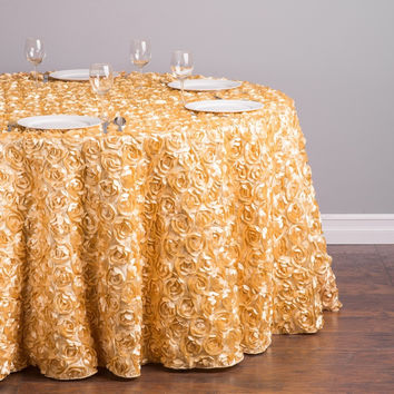 Fedex IE Silk-Feel Polyester Latest 118 inch Round Inspire 3D Romance Rosette Tablecloth Gold Color for Ceremony, 20/Pack