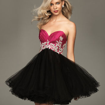 2011 Prom Dresses! Evenings By Allure-Fuchsia And Black Tulle Sweetheart Short Ball Gown- Size 0-18 - Unique Vintage - Cocktail, Evening  Pinup Dresses