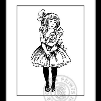Girl and Doll - 8.5x11 inches Digital Sheet CP-211 - Print It Yourself - Instant Wall Decor - Iron-On Transfer - JPG, PNG - Instant Download
