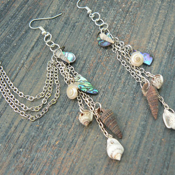 seashell ear cuff SET abalone chained ear cuff SILVER abalone shells cuff