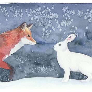 An original Christmas card. Fox and rabbit Christmax card. Unique Xmas card. Finnish Christmas card. Animal art print. Christmas watercolor.