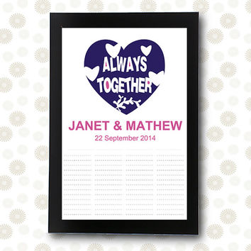 Wedding Guest Book INSTANT DOWNLOAD unique guestbook bridal shower Always Together / printable pdf / editable alternative ideas signature