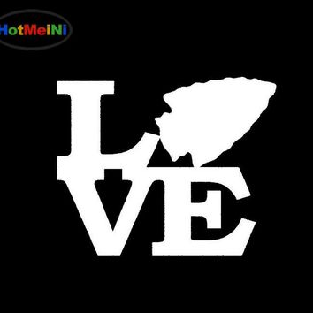 HotMeiNi Arrowhead Love Sticker Car Window Truck Bumper Door Vinyl Decal Arrowhead Bow Arrow Feather Mustang Hunt Car Decoration