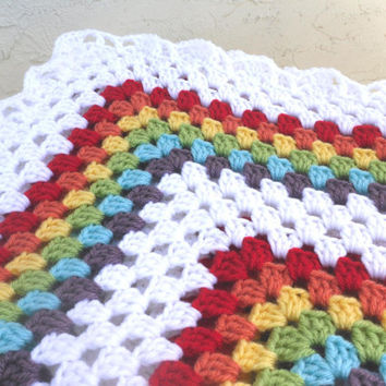 Double Rainbow Granny Square Crochet Baby Blanket Afghan for Boy or Girl - By Tejidos on Etsy