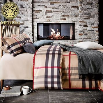 luxury 60s egyptian cotton sateen golden plaid Bedding set duvet cover flat sheet pillows case 4pcs/king/queen size