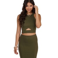 Olive Peep Crop Top