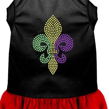 Mardi Gras Fleur De Lis Rhinestone Dress Black With Red Sm (10)