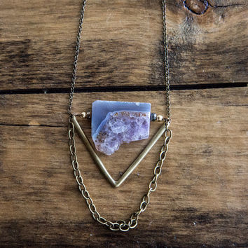 AMETHYST GEODE CHOKER - Slice - Brass Triangle Raw Stone Natural Amethyst Cluster Geode Necklace Boho Chic Gifts for Her - Charlie Girl Gems