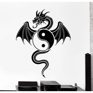 Wall Vinyl Decal Dragon Ying Yang Chinese Oriental Home Interior Decor Unique Gift z4082
