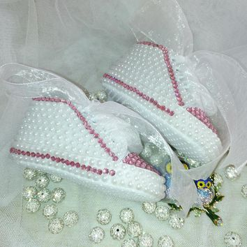 Handmade Pink Pearls & Crystals Baby Girl Baby Bling Sneakers