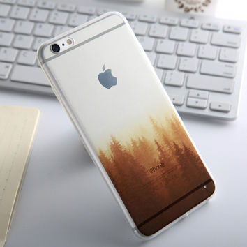Fashion Thin Soft Silicone Forest Transparent Back Cover Case For Apple iPhone SE 5s / 6 6s / Plus
