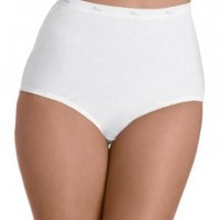 Hanes Women's Cotton Briefs 6 Pack (White, Size 7)