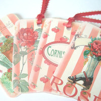Summer Gift Tags Set of 4 Vintage Inspired Geranium Pink Garden Flowers Shoe