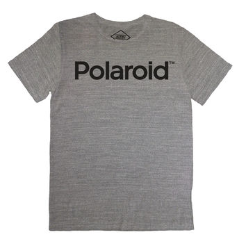 Polaroid Logo Text Block on gray tee by Altru Apparel