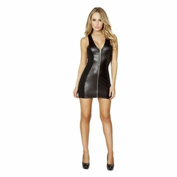 Black Mini Dress with Full Zip up Front