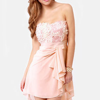 Sash-a-frass Strapless Blush Pink Dress