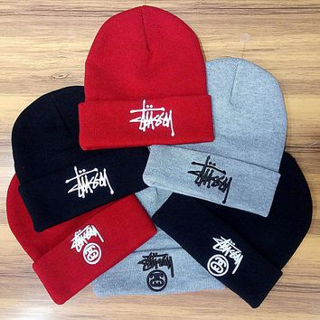 Stussy Woman Men Fashion Embroidery Beanies Winter Knit Hat Cap 0f6c33fb1e2