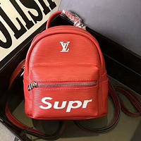LV X Supreme Trending Women New Casual Daypack School Bag Leather Backpack Red I-AGG-CZDL