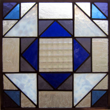 Handmade Stained Glass Quilt Square Hanging Panel in Blue, Textured Clear, White Glass, Appalachian Traditional Folk Art Dove in the Window