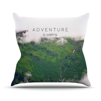 "Ann Barnes ""Adventure is Waiting"" Mountain Throw Pillow"