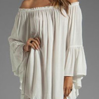 Off-Shoulder Angel Sleeve Ruffled Shift Mini Dress