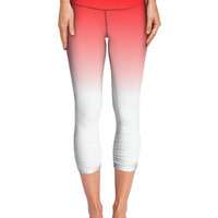 Red to White gradient yoga pants