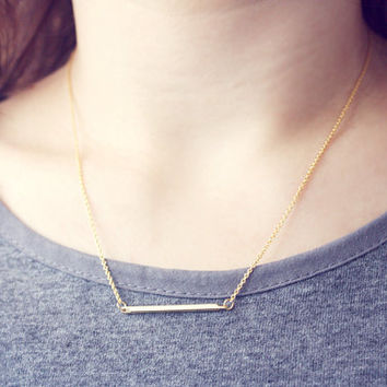 minimalist bar necklace - dainty, simple, golden jewelry / gift for her