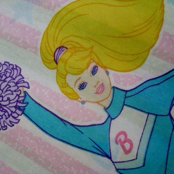 HTF Barbie Cheerleader FULL Size Flat Bed Sheet Barbie Pink Bed Sheet Kids  Bedding Craft Fabric