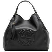 ONETOW Gucci Soho Medium Black Hobo Leather Double Strap Italy Handbag Bag New