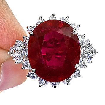 18.5CT Oval Cut Red Ruby Halo Ring