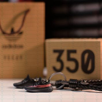 """Kicksmini Yeezy 350 Boost V2 Core """"Red Stripe"""" 3D mini Sneaker Keychains with Box and"""