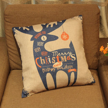 Merry Christmas Deer Pillow Cushion Cover [7992919617]
