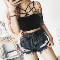 PREORDER - Mona Caged Top (BLACK)