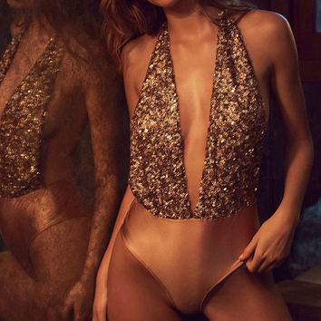 Out From Under Sequin Super Plunge Bodysuit - Urban Outfitters