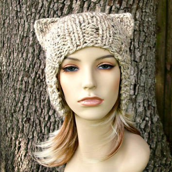 15% Off - Hand Knit Hat Womens Hat - Cat Helmet Hat in Oatmeal - READY TO SHIP - Chunky Knit Fall Fashion Accessories Oversized Knit