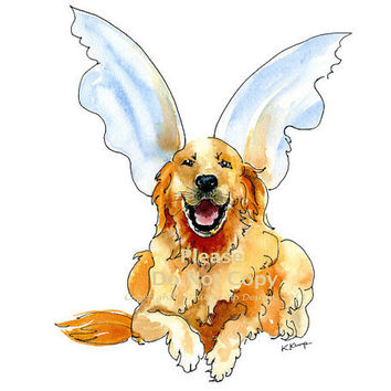 Golden Retriever with Angel Wings Pet Portrait, Art Print Drawing in Pen & Ink with Watercolor, Memorials, in Gold, Blue, Rust