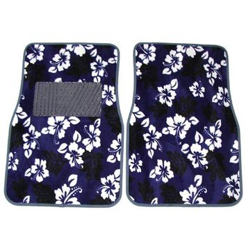 Blue Hawaiian Hawaii Aloha Print with White Hibiscus Flowers Wild Series Front & Rear Car Truck SUV Carpet Car Floor Mats - 4PC, USA, Brand LA Auto Gear