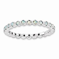 Sterling Silver Stackable Expressions Created Opal Eternity Ring