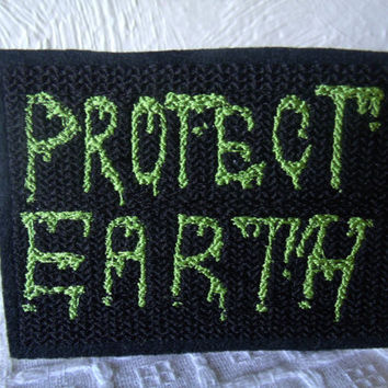 Lime Green Protect Earth Embroidered Iron On Patch, Black Lime Green, Embroidered Applique, Alien Monster Zombies Attack, Earth Apocalypse