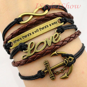 "Bracelet - Antique bronze anchor bracelet, LOVE bracelet, "" where there's a will there's a way "" bracelet, the best Christmas gift"