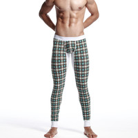 Stylish Men Plaid Cotton Pants Leggings [6541470787]