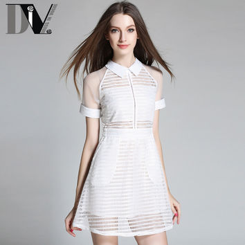 DIV New Arrival Plaid Casual Shirt Dresses For Women Turn-down Collar Empire Mesh Patchwork Black&White Hollow Out Dresses